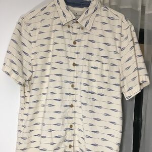 American Eagle Button Down White/Blue Short Sleeve